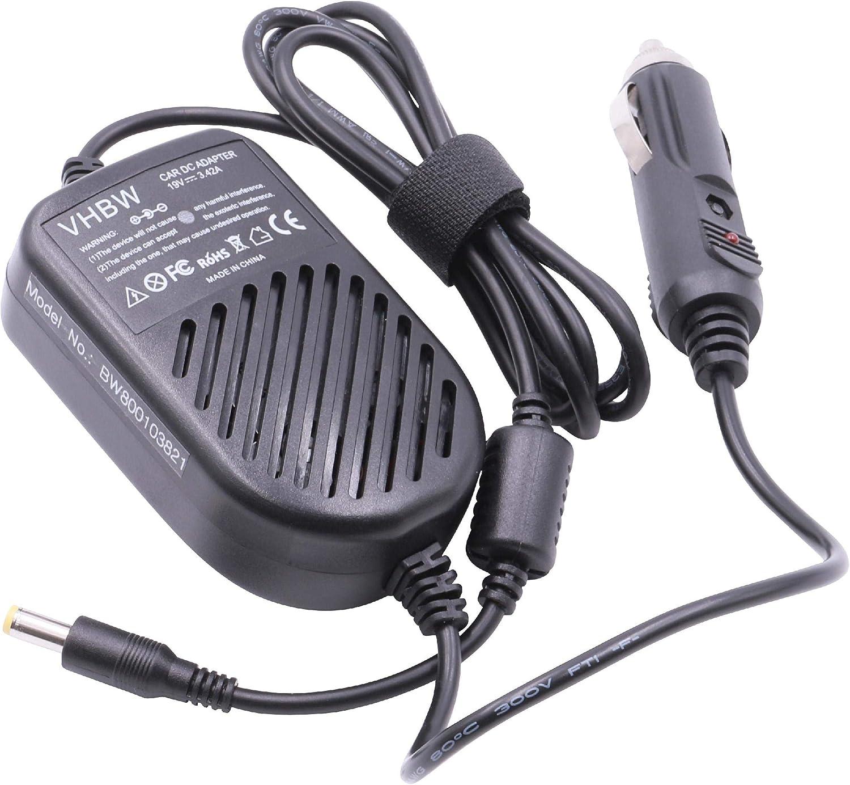 vhbw Cable de Carga, Coche Compatible con Acer Aspire 6930, 6930G, 6935, 6935G, 7000 portátil - Cargador 12V, 65W