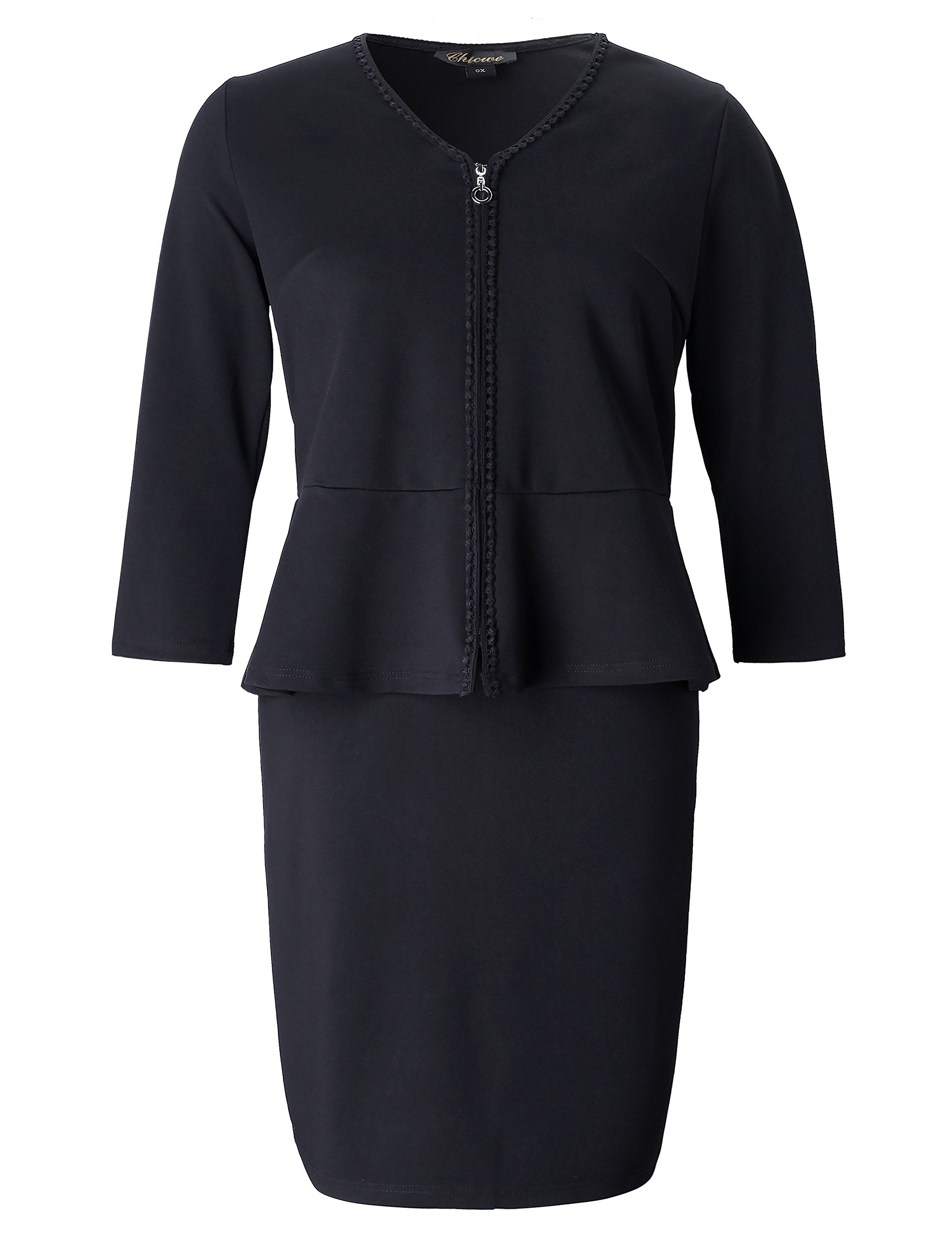 Chicwe Women's Plus Size Stretch Zip Front 2 in 1 Set Peplum Dress with Trim - Knee Length Work and Casual Dress 3X