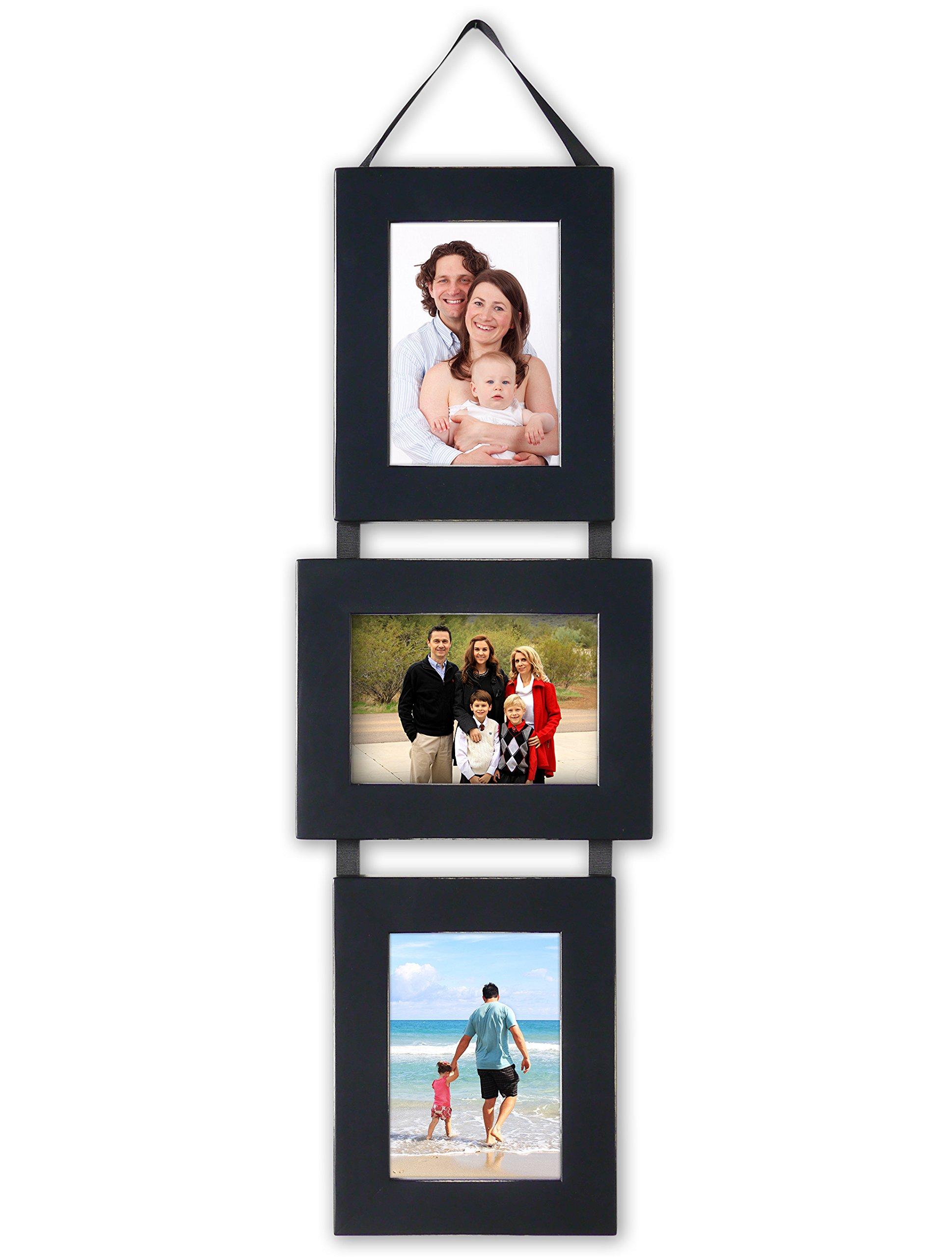 MyBarnwoodFrames - Lightly Distressed Collage Set of 3, 5 x 7 Wood Picture Frames on Hanging Ribbon, Black (Portrait-Landscape-Portrait)