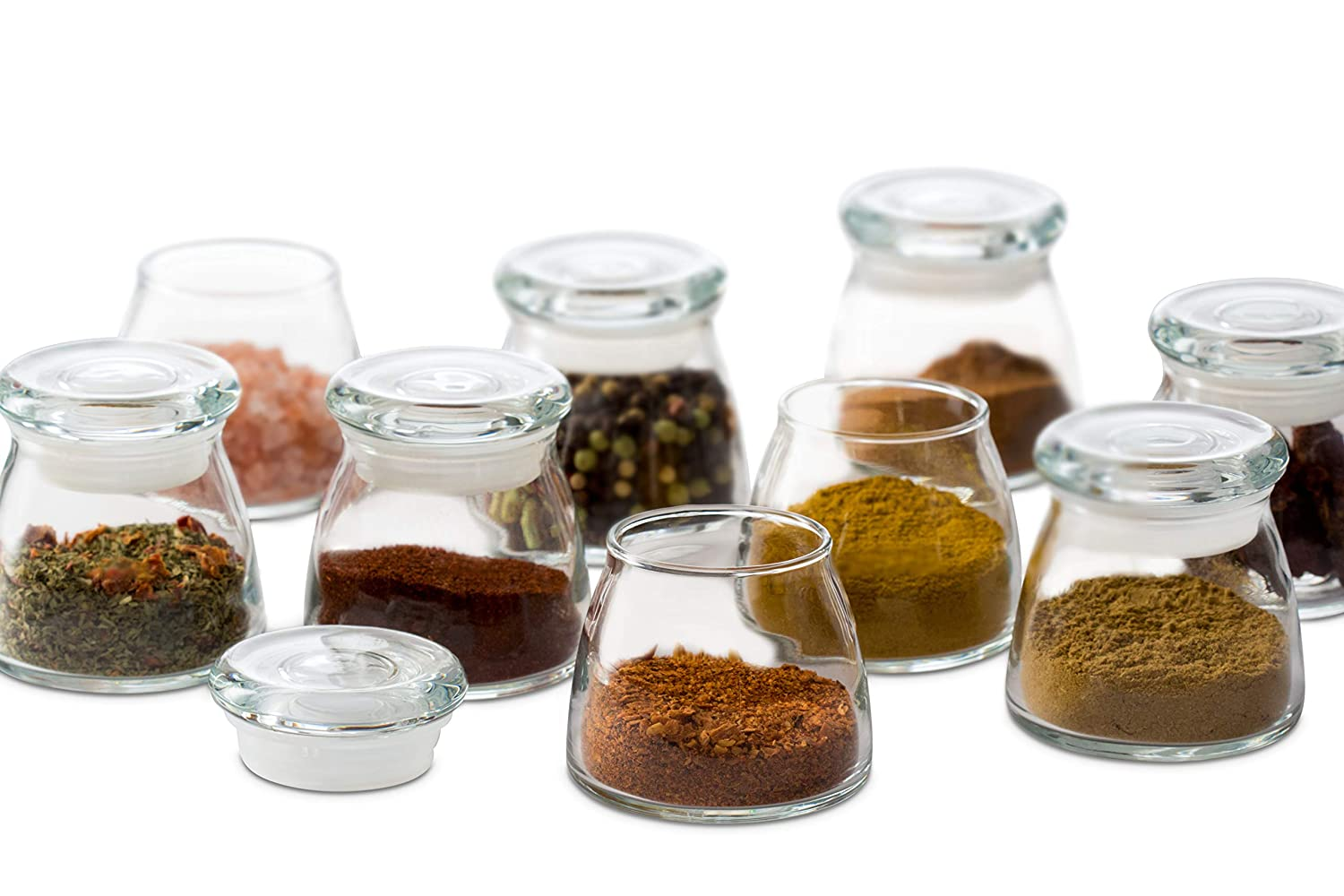 Libbey 71355 Vibe Mini Glass Spice Jars with Lids, Set of 12, 4.5 oz, Clear