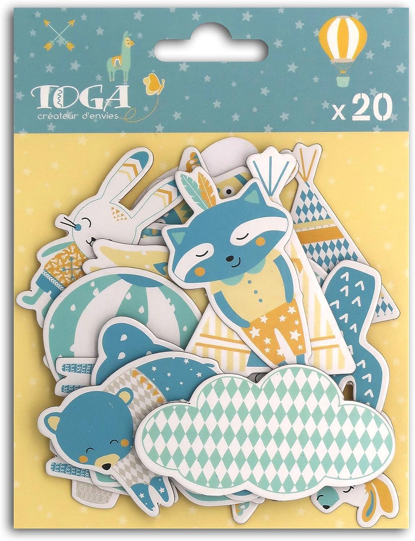 Autre - Leonard /& Josephine Lot de 20 Formes Chipboards Multicolore Toga naissance CH76 7 x 0.3 cm