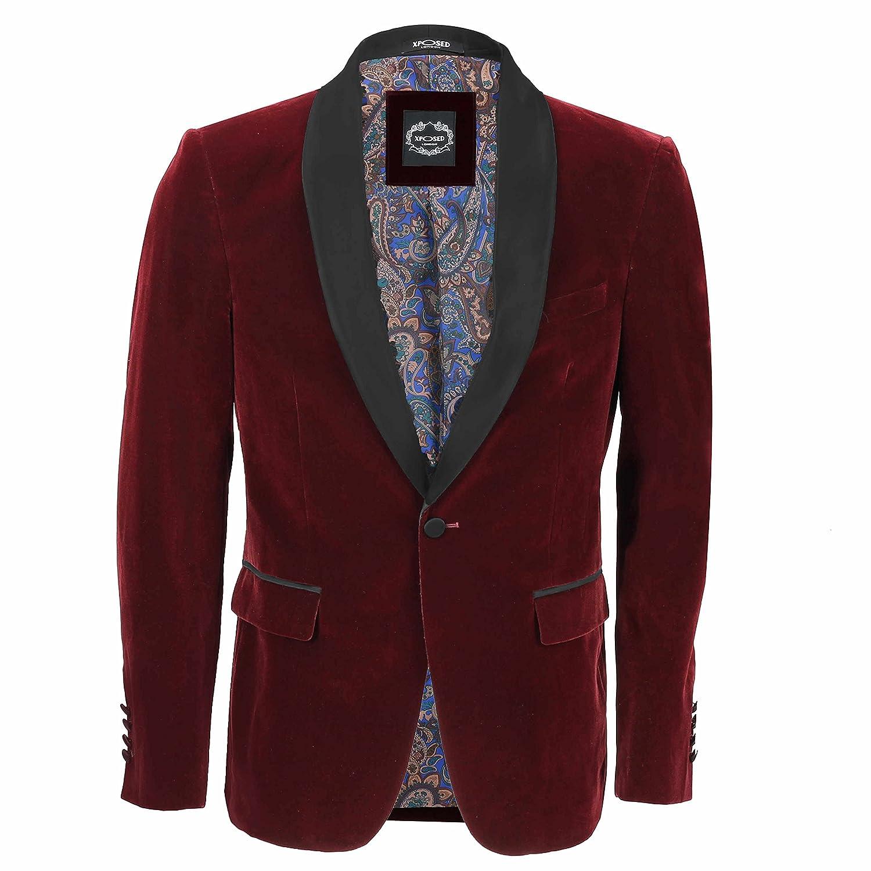 Xposed completo da uomo in velluto, stile vintage, 3 pezzi (giacca, pantaloni e gilet) venduti separatamente, granata Blazer-Tux-Maroon Petto UK 36 EU 46