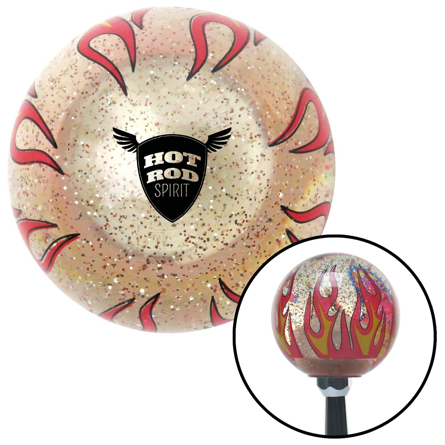 Black Hot Rod Spirit Clear Flame Metal Flake with M16 x 1.5 Insert American Shifter 295756 Shift Knob