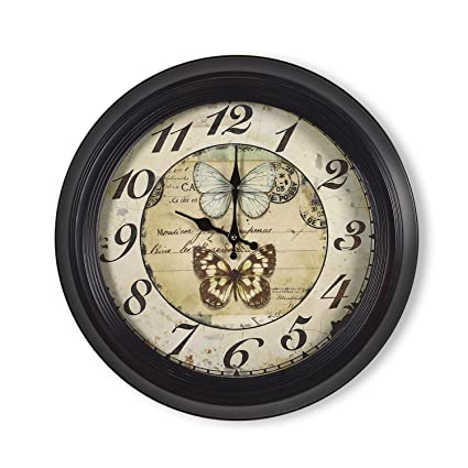 """9cb43888f42a Adeco CK0088 18""""~19"""" Large Black & Brown Antique-Look Dial  Butterfly"""