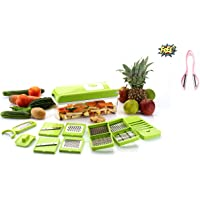 OSLEN 12 in 1 Plastic High-Grade Rust-Free Stainless Steel Blades Vegetable Choppers for Kitchen, Large (Green) - 15 Different Tools