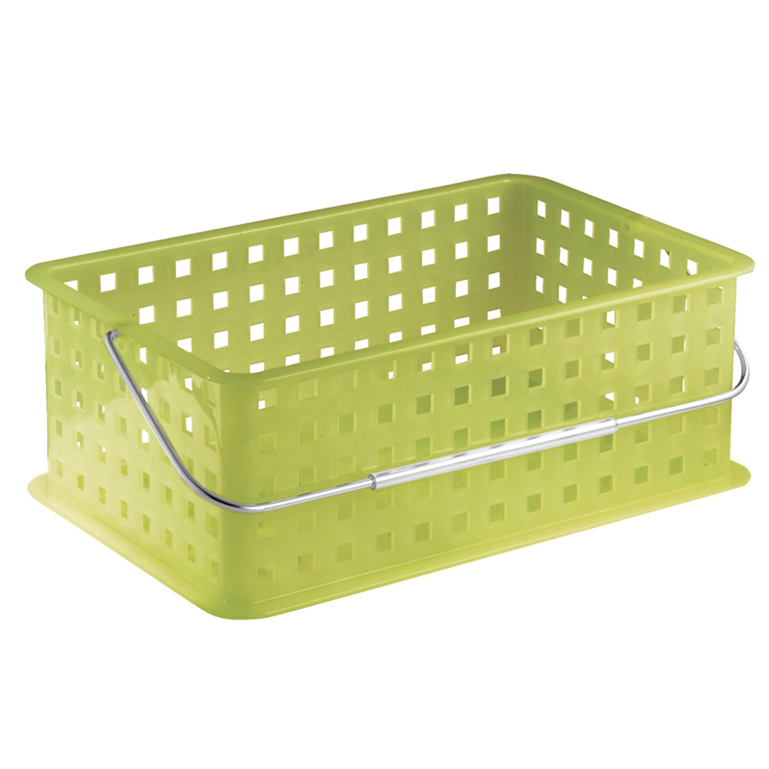 InterDesign Storage Organizer Basket, with Handle for Bathroom, Health and Beauty Products - Medium, Pear