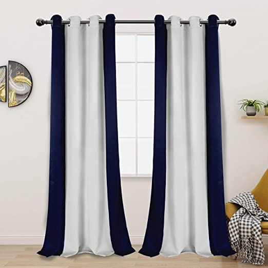 Amazon Com Lordtex Color Block Blackout Curtains For Bedroom Insulated Thermal Drapes Sun Light Blocking Noise Reducing Grommet Window Panels For Living Room 2 Panels 50 X 84 Inch Navy Greyish White