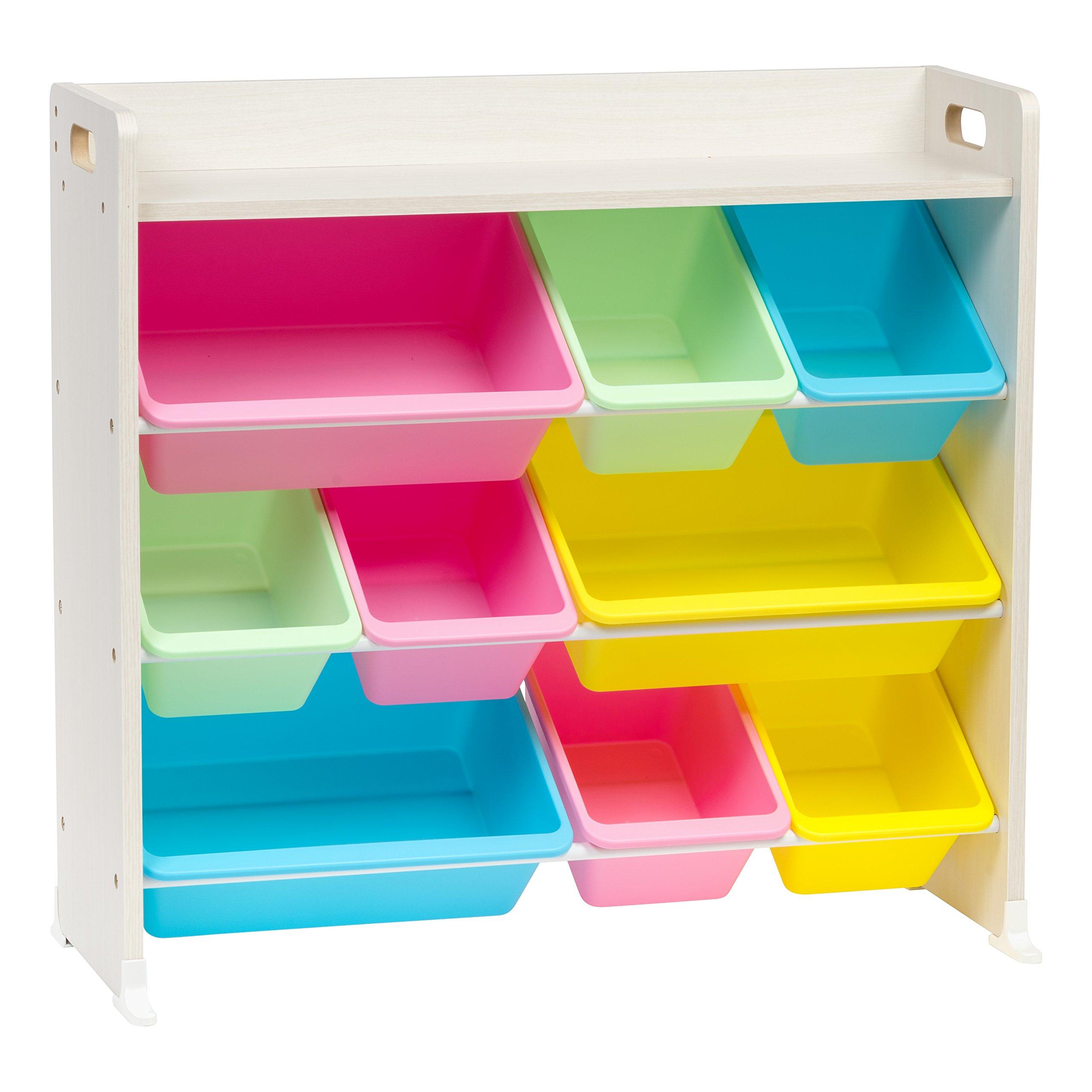 IRIS 3-Tier Storage Bin Rack with Shelf, Pastel by IRIS USA, Inc.