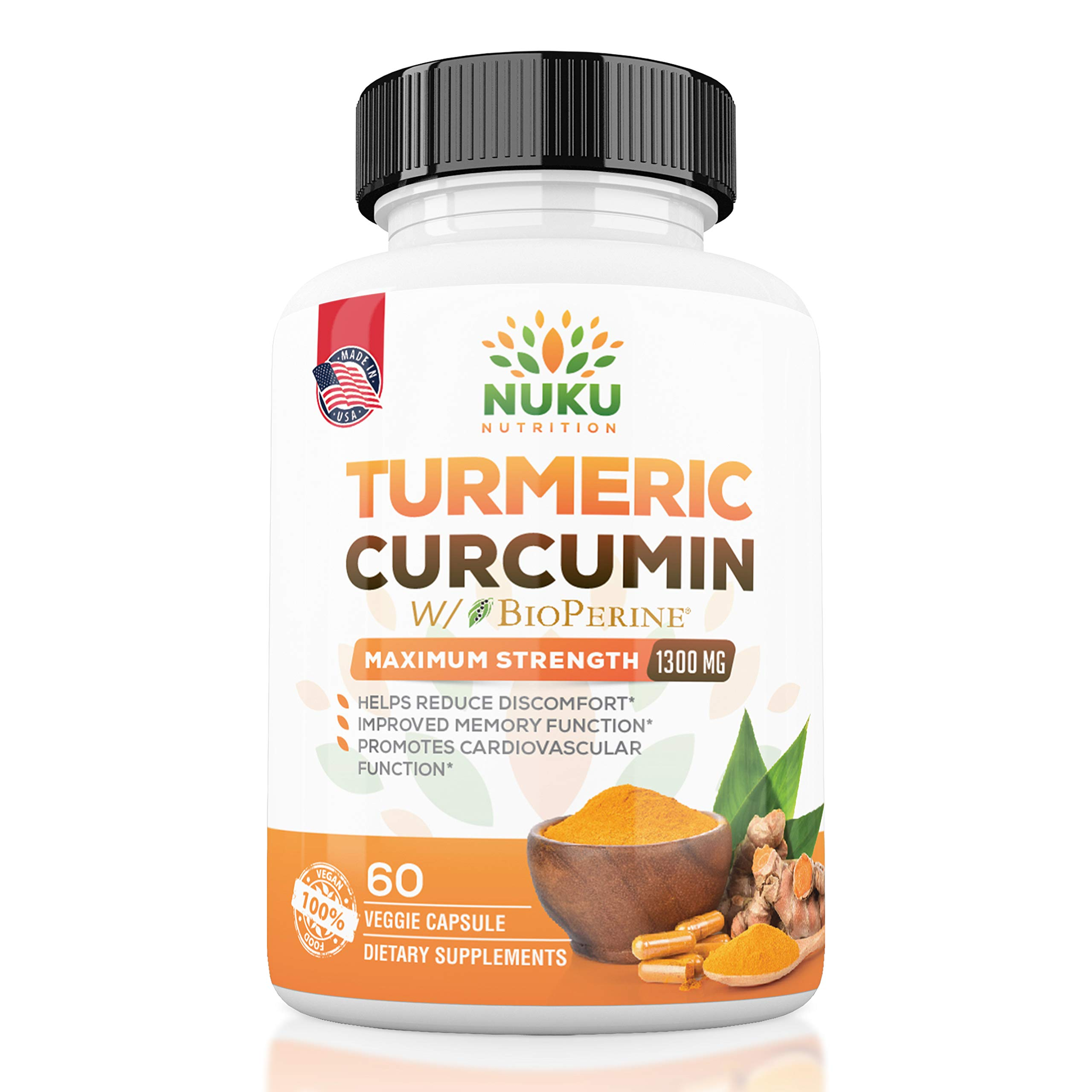 Lowest Price | Turmeric Curcumin with BioPerine Maximum Strength 1300mg - Joint Support, Pain Relief, Antioxidant & Anti-Aging Supplement. Non-GMO, Made in USA with 95% Curcuminoids. | Nuku Nutrition by Nuku Nutrition
