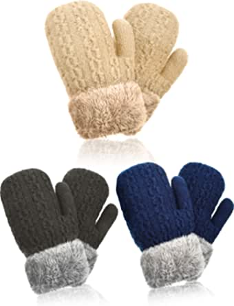 3-Pack Kids Girls Cartoon Suede Fleece Lined Mittens Gloves with String for Toddler Boys 3-8 Years