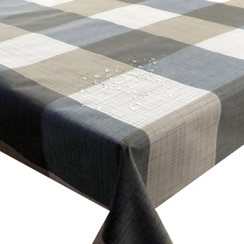 Meterware Stoff Farbe , Breite & Länge wählbar - Kariert Beige Grau TEFLON Eckig 140 x 240 bzw. 240x140 cm Tischdecke