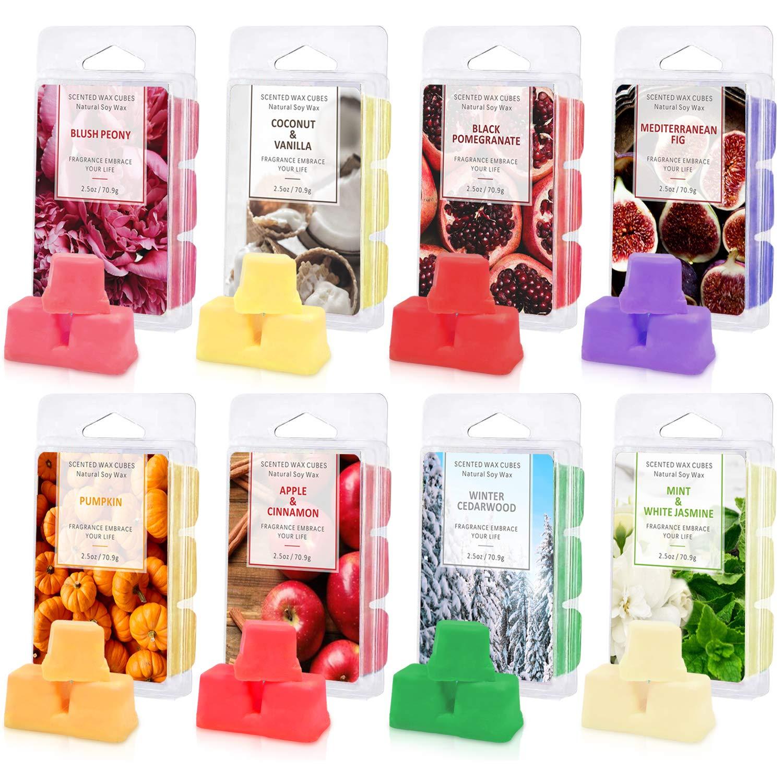STRN Scented Wax Melts, Soy Wax Cubes, Wax Melts Wax Cubes 8 Pack, 2.5 oz Wax Bar Melts for Warmer Cubes/Tarts, Pumpkin, Nectarine Blossom, Apple & Cinnamon, Cedarwood, Mint & White Jasmine, Coconut & Vanilla, Black Pomegranate, Mediterranean Fig