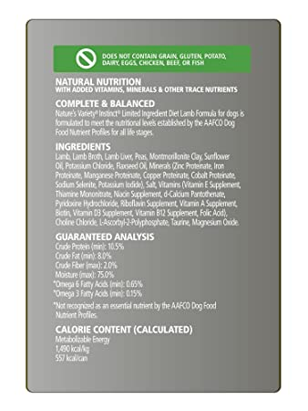 Nature S Variety Instinct Limited Ingredient Diet Grain Free Recipe Natural Wet Canned Dog Food Lamb