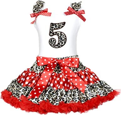 Petitebella Leopard 5th White Shirt Red Leopard Polka Dots Skirt Outfit 1-8y
