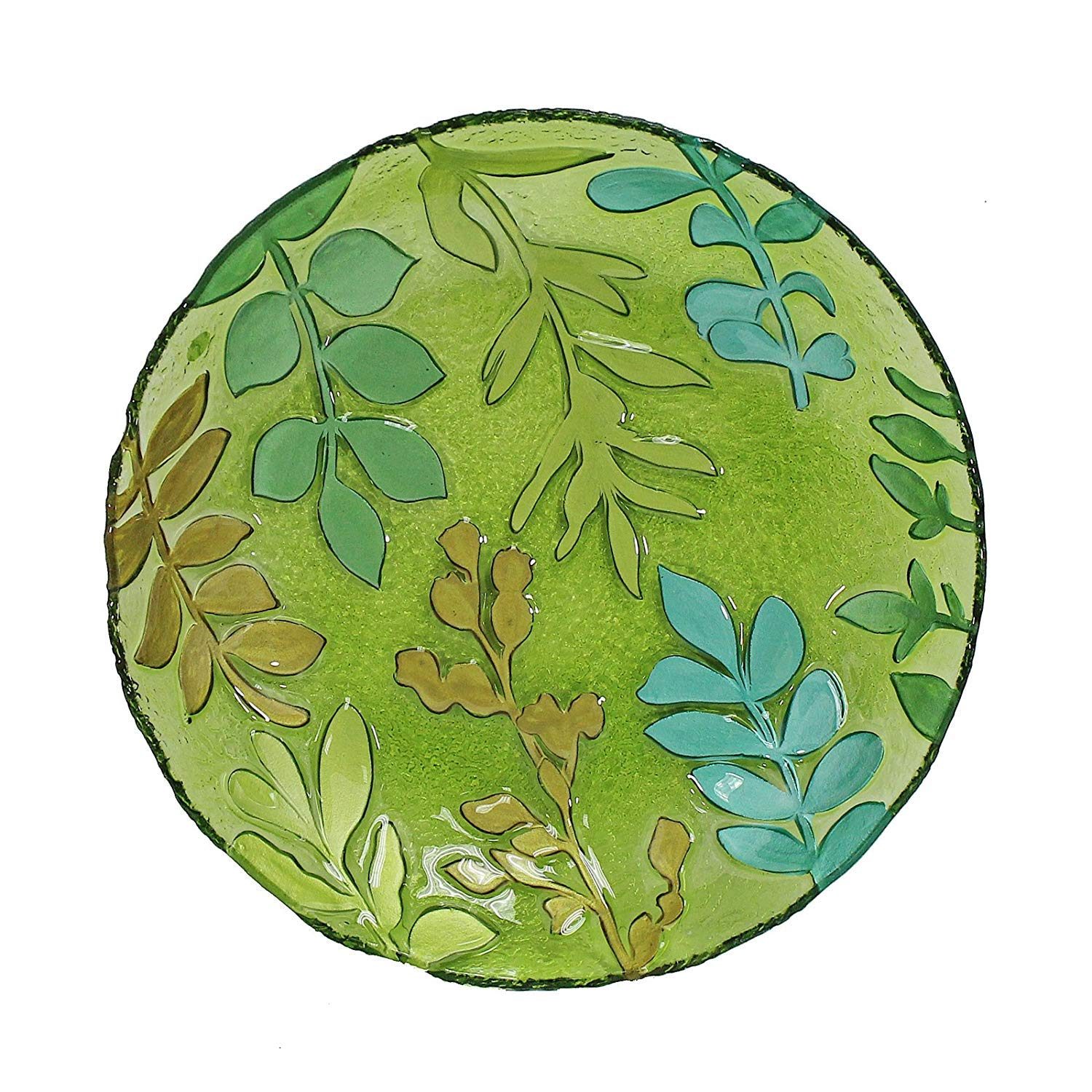 WELLAND Hand Painted Glass Plate, Leaves Pattern, 15inch