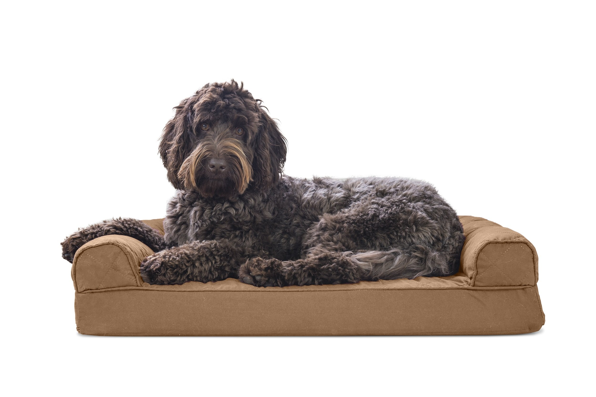 FurHaven Memory Foam Quilted Dog Couch Sofa Bed for Dogs and Cats, Toasted Brown, Medium