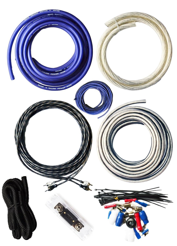 SoundBox Connected 4 Gauge True AWG Amp Kit Amplifier Wiring Complete Install Kit Cables 3000 Watt Peak Power Handling, Blue