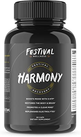 Harmony: Festival Recovery | Post-Festival, Rave, and Party Recovery Supplement | 5-HTP + Mood Boost, Replenishes B-Vitamins & Electrolytes, Promotes a Clear Mind