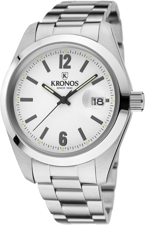 KRONOS - Elegance White 968.8.35 - Reloj de Caballero de Cuarzo, Brazalete de Acero, Color Esfera: Plateada