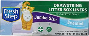 """Fresh Step Drawstring Cat Litter Box Liners, Scented, Jumbo Size, 36"""" x 19"""" - 7 Count   Kitty Litter Bags"""