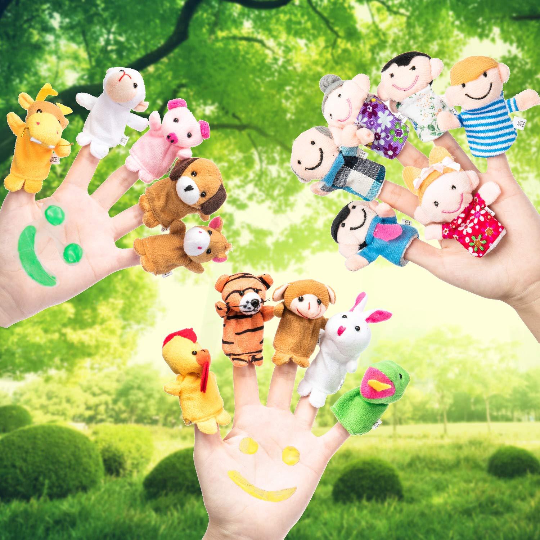 Conjunto de Marionetas de Dedos 18 Piezas de Marioneta de Dedos de Dibujos Animados en Estilo de Familia y Zodiaco Chino Animal para Contar Cuentas, ...