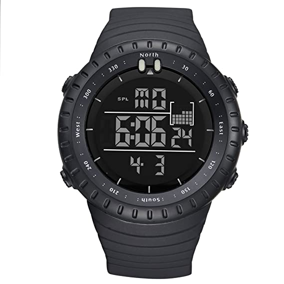 Mens Unique Led Digital Watch Blue White Led Watches Black Soft Rubber Digital Wrist Watch For Men As Gift Factory Direct Selling Price Watches