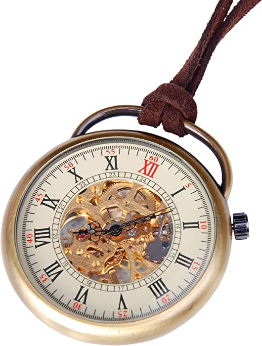 cad897fbc Amazon.com: Mens Skeleton Pocket Watch Mechanical Movement Hand Wind Up Open  Face Vintage Antique Style Steampunk PW-17: Watches