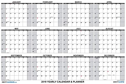 Annual 2019 Calendar Amazon.: SwiftGlimpse Wall Calendar 2019, Yearly, 24 x 36