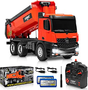 1:14 Scale Large Remote Control Dump Truck for Boys and Adults – Compatible with Excavators RC Construction Vehicles - 10 Channel Full Functional – Metal and Plastic Parts – 2 Batteries & 2 Chargers