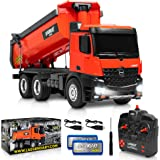 1:14 Scale Large Remote Control Dump Truck for Boys and Adults – Compatible with Excavators RC Construction Vehicles - 10 Cha
