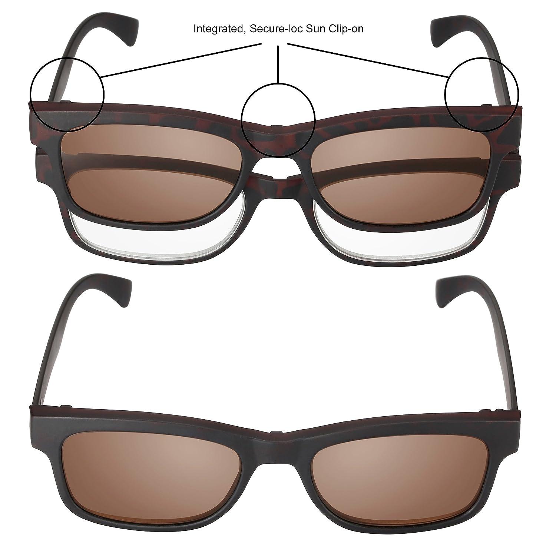 Read Optics: Gafas Hombre/Mujer de Lectura + Lentes de Sol con Clip-On Tintadas UV 400 (Graduadas de Leer + 3,00 Dioptrías) – Estilo Italiano En ...