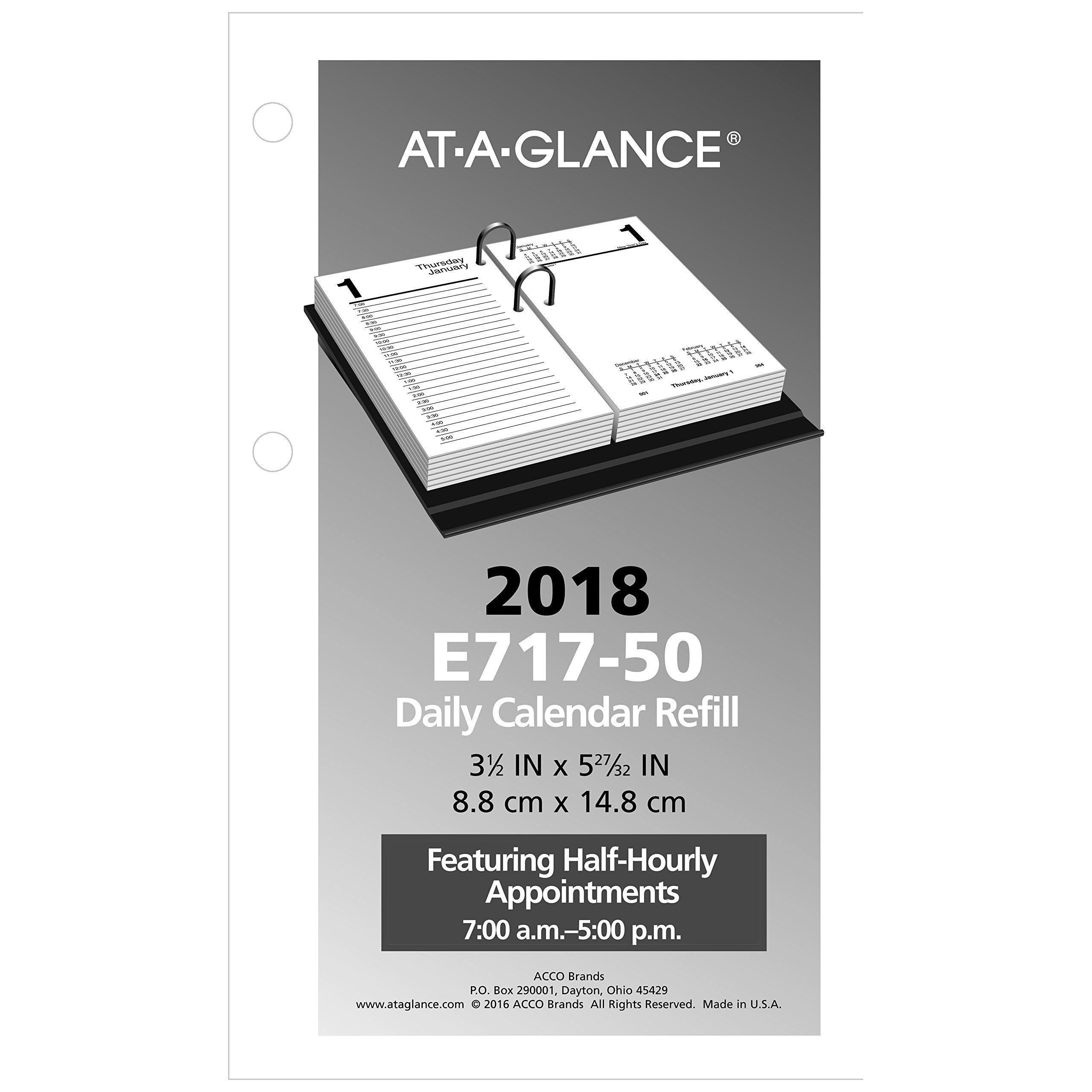 at-A-Glance Daily Desk Calendar Refill, January 2018 - December 2018, 3-1/2'' x 6'', Loose Leaf (E71750)