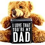 Gifts for Dad From Son or Daughter Kids - Perfect Thoughtful Daddy Christmas Gift Set for Father for Birthday Thank You Christian - Teddy Bear and I Love That You're My Dad Plaque