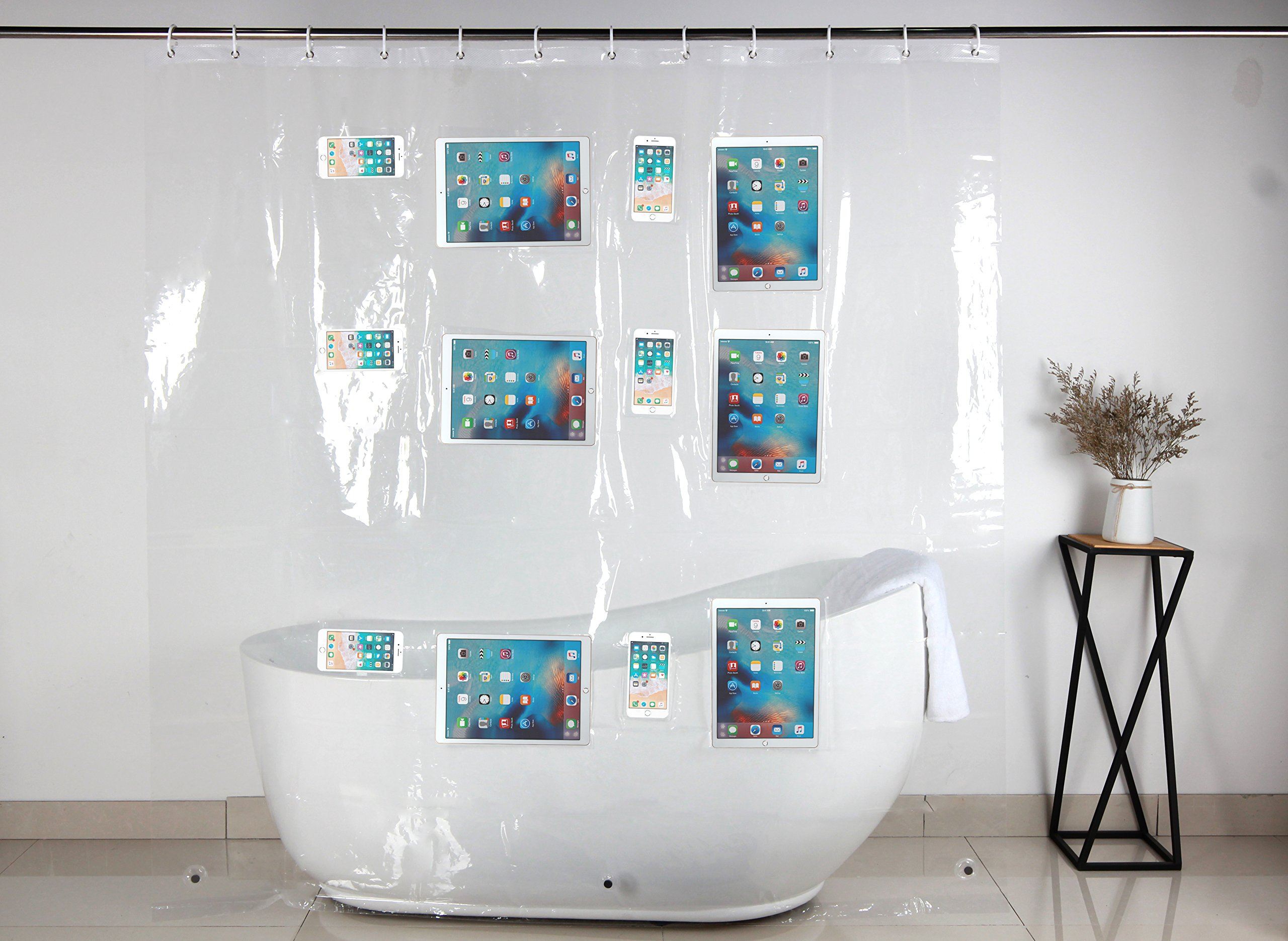 Clear Shower Curtain Liner With 12 Touch Pockets For iPad Phone Tablet Baby Monitor - Watch Movies TV Shows Netflix Youtube Play Games Music - 100% Waterproof Eco Friendly With 12 Free Curtain Rings