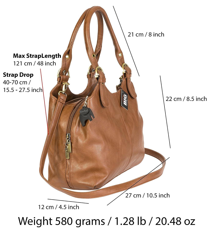 d00349e206243 Big Handbag Shop BHSL Mehrfachtaschen Mittlere Größe Umhängetasche  Schultertasche für Frauen - Mit langem Schulterriemen und eine kleine  Taschencharme ...