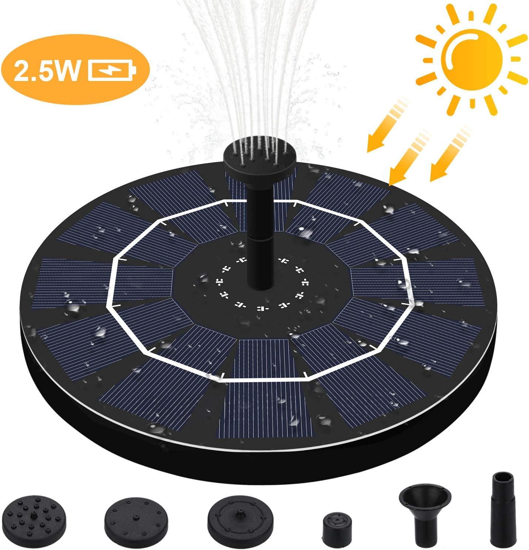 2.5W Fuente de Jard/ín Solar Flotado Solar Panel Incorporada con 6 boquillas Ideal para Jard/ín y Birdbath y Estanque Solar Fuente Bomba