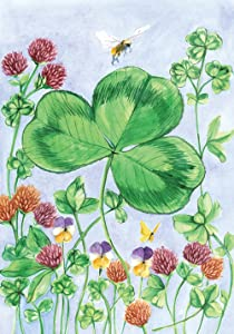 Toland Home Garden Clover and Bee 12.5 x 18 Inch Decorative St Patrick's Day Shamrock Spring Garden Flag