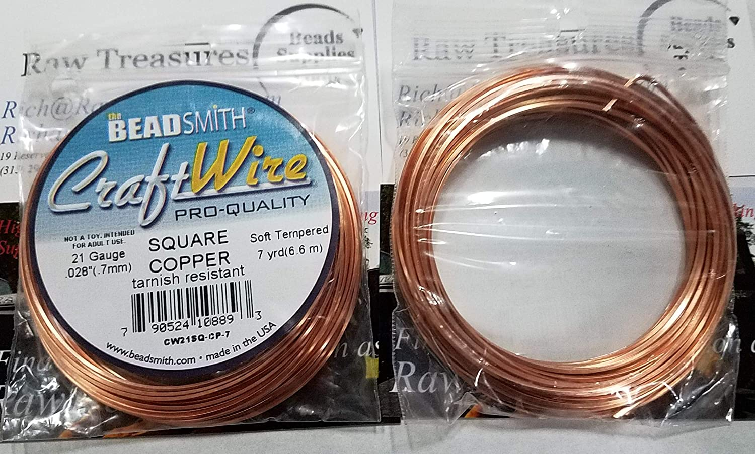 TWISTED Square Craft Wire BeadSmith Soft Tempered 21 gauge