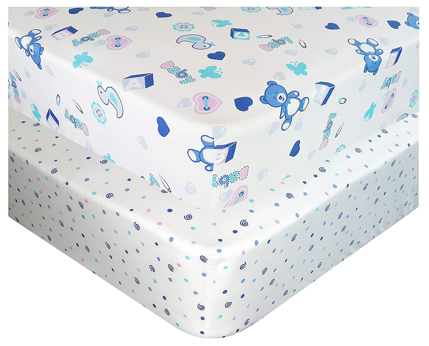 Handywa - 100% Cotton Fitted Crib Sheets Set for Baby & Toddler Bed Mattress - Blue Teddy Bear and Polka-Dot (2 Pack) - White Color for Boy and Girl Nursery - Soft, Breathable, Hypoallergenic