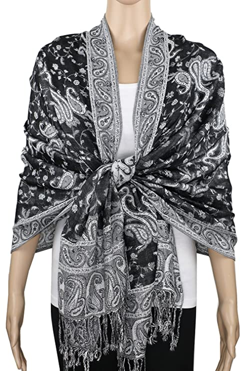 1920s Shawls, Scarves and Evening Jacket Tips Achillea Soft Silky Reversible Paisley Pashmina Shawl Wrap Scarf w/ Fringes 80 x 28