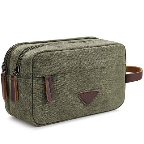 Amazon.com   Men s Travel Toiletry Organizer Bag Canvas Shaving Dopp Kit  TSA Approved (Army Green-2)   Packing Organizers 52730756c2