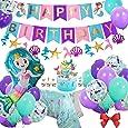 Sirena Decoración de cumpleaños, Morado Feliz cumpleaños Conjunto de pancartas Sirena Papel Globo Látex Confeti Mantel de sirena Suministros de fiesta para niña Baby Shower Cumpleaños