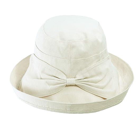 9c0d1fd370e64f Women Summer Beach Sun Hat - Wide Brim Bucket Packable Cotton Hats for  Girls (Beige