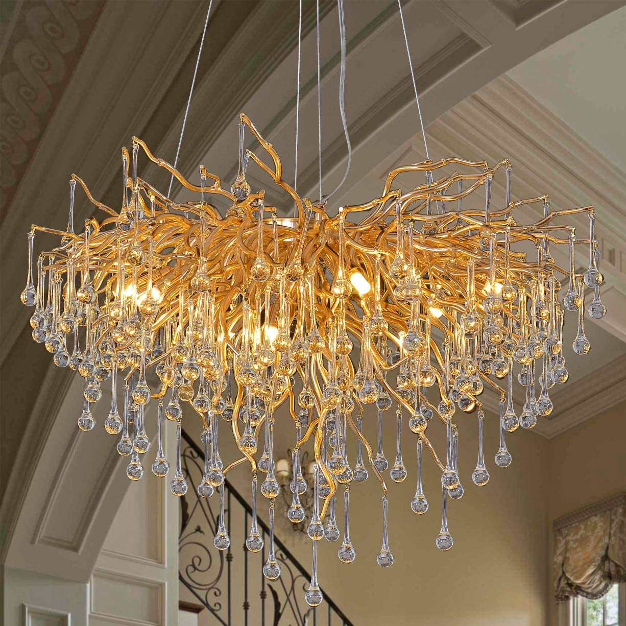 Modern Crystal Chandelier Lighting Ceiling Pendant Dining Room Foyer Entryway Chandeliers Flower Rain-Drop Hanging Light Fixtures Tree Twig Branch Fringe Style Gold Dia 31.5 Round Gold
