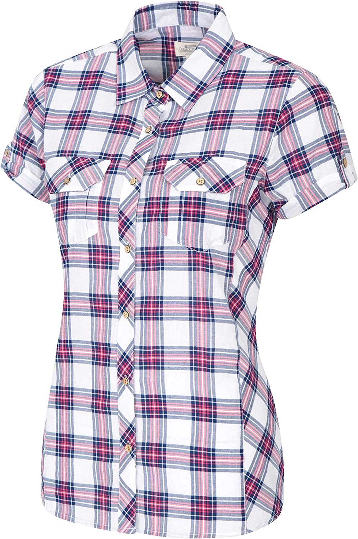 Camisa Informal para Viajar Mountain Warehouse Camisa de algod/ón Holiday para Mujer Caminar Camisa Ligera de Verano para Mujer Top de Manga Corta para Mujer