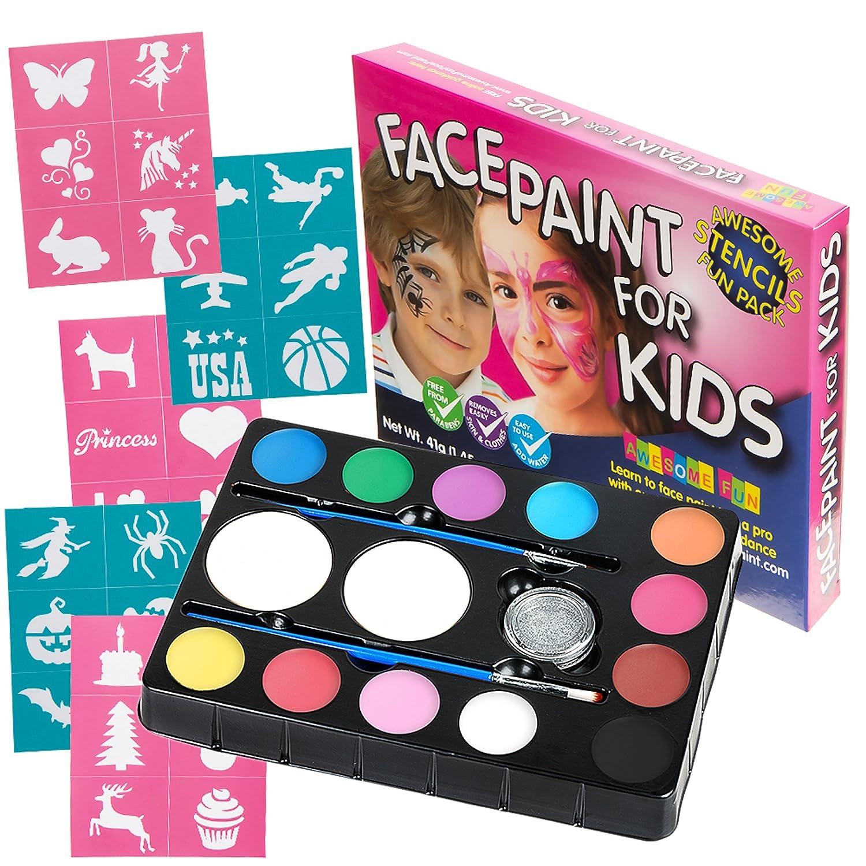face paint kit with 30 stencils 12 color palette for