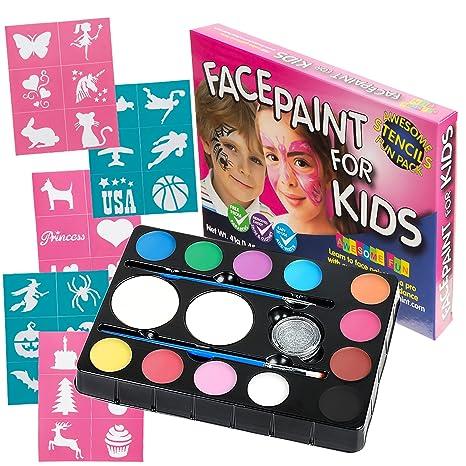 Buy Face Paint Kit For Kids 47 Pieces 12 Color Palette 30