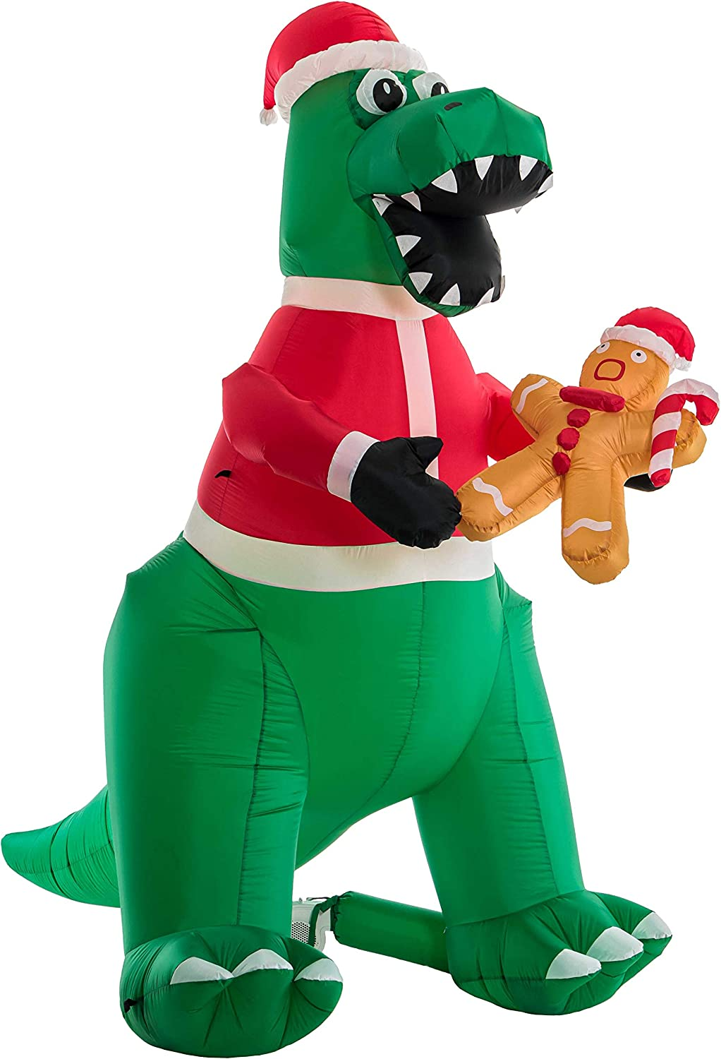 Christmas Masters 8 Foot High 7 Feet Long Inflatable T-Rex Dinosaur with Santa Hat Eating Gingerbread Man Cookie LED Lights Indoor Outdoor Yard Lawn Decoration - Fun Tyrannosaurus Xmas Holiday Blow Up