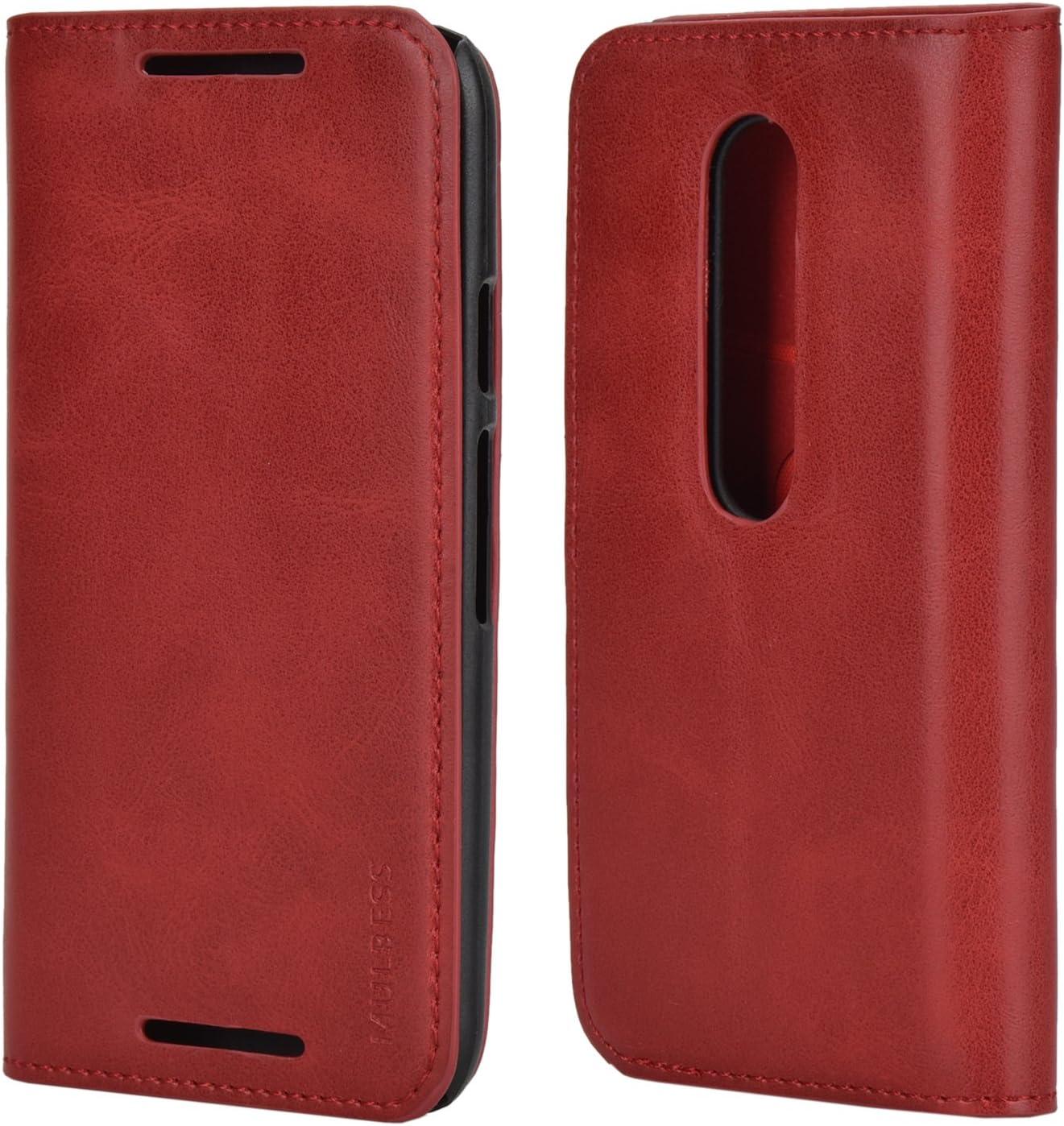 Mulbess Funda Motorola Moto G 3rd [Libro Caso Cubierta] Slim de Billetera Cuero Carcasa para Motorola Moto G 3 Gen Case, Vino Rojo