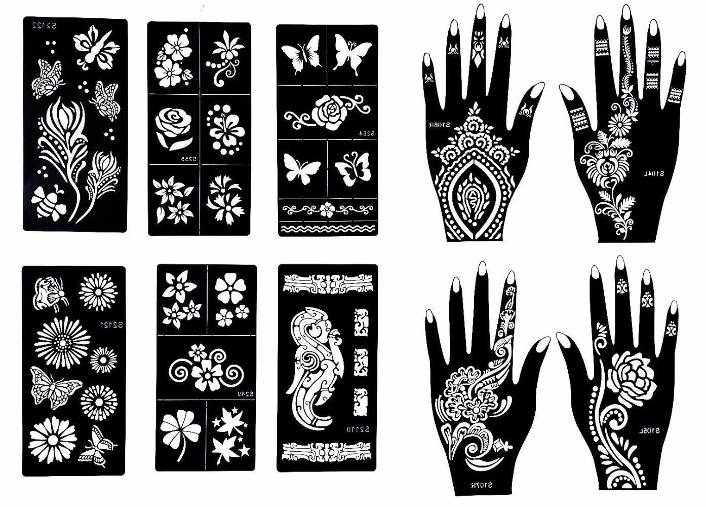 Stencils for Henna Tattoos (10 Sheets) Self-Adhesive Beautiful Body Art Temporary Tattoo Templates, Henna, Flower, Butterfly Designs Nanjari Logistics Solutions